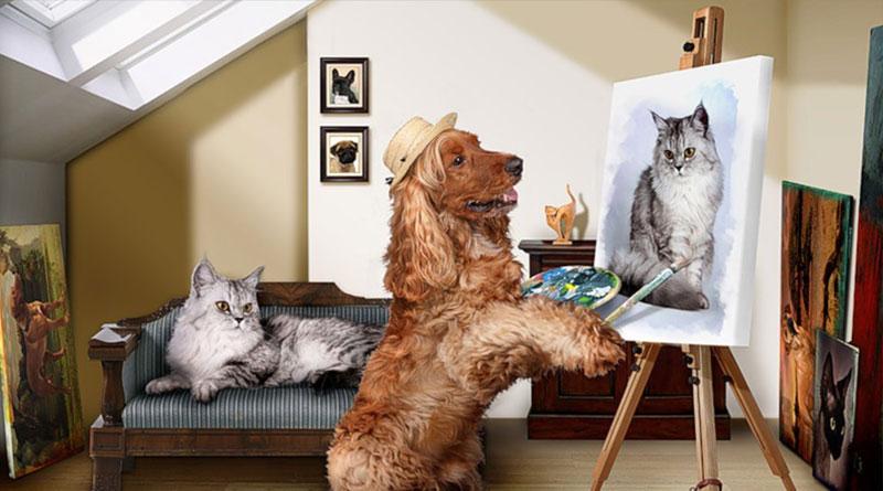 как научить собаку рисовать